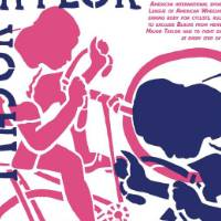 This poster is white with blue and pink images overlaying it. There are two cyclists, a pink behind a blue, and there is a paragraph of text in the upper right corner.